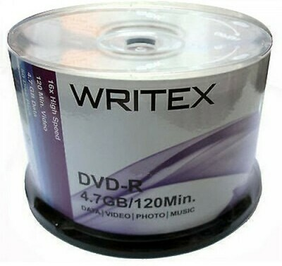 Writex DVD-R 4.7GB 120min 16x Pack of 50disk
