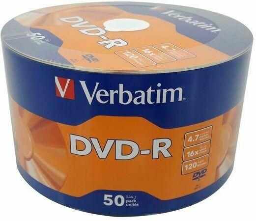 Verbatim DVD-R 16x 4.7GB, 120min, Pack of 50-disk