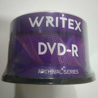 Writex Blank DVD-R, Archival Series, Pack of 50-disk