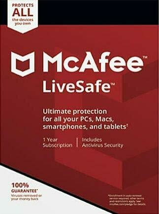 Unlimited Devices, 1 Year, McAfee LiveSafe