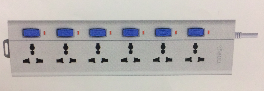Bull 6 Sockets & 6 Switch 3 Meter Extension Board