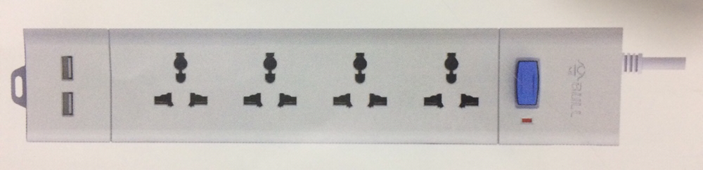 Bull 4 Sockets, 2 USB & 1 Switch 2 Meter Extension Board S204U-20 HSN:8537