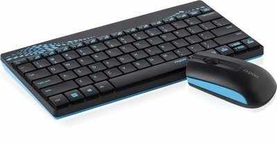 Rapoo 8000 Mini Wireless Keyboard Mouse, Blue