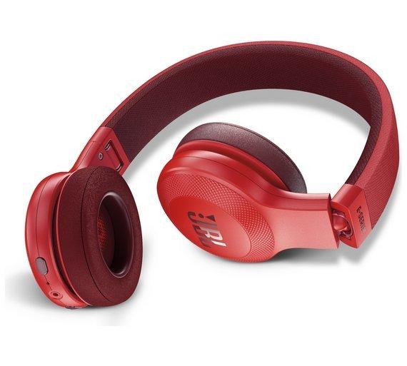 JBL E45BT Wireless Bluetooth On-Ear Headphones with Mic, Red