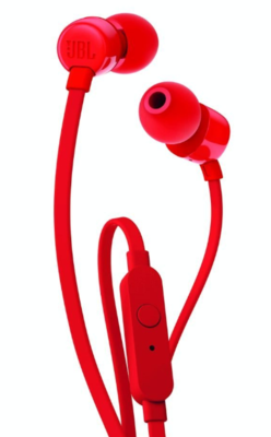 JBL T110 In-Ear Headphones with Mic, Red