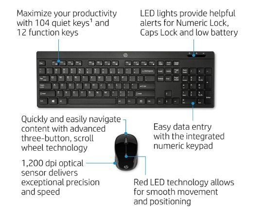 HP 200 Wireless Keyboard Mouse, Combo Pack, Rs 1180