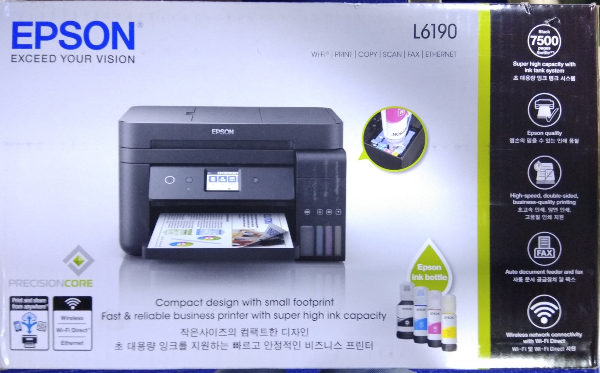 Epson L6190 Wi Fi Duplex All In One Ink Tank Printer With Adf Yellow C13t03y400 For L6170