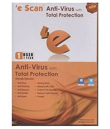 1 User, 1 Year, eScan Anti-Virus with Total Protection, V-11.x