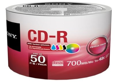 Sony CD-R, 700mb, 48x, White Inkjet Printable, 50-disk
