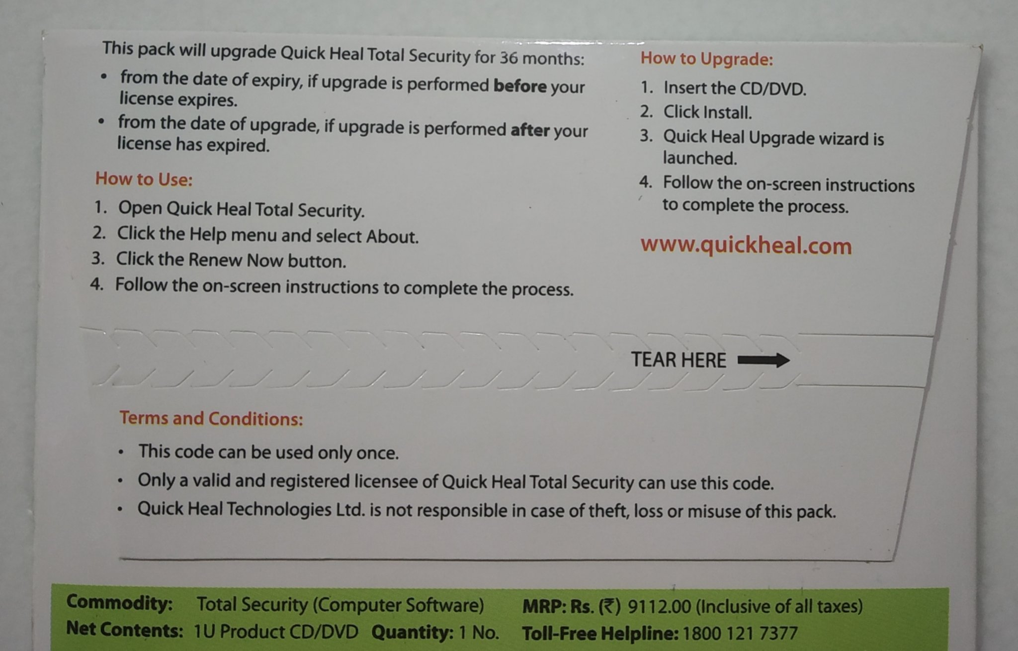 Renewal, 5 User, 3 Year, Quick Heal Total Security, Rs 4940