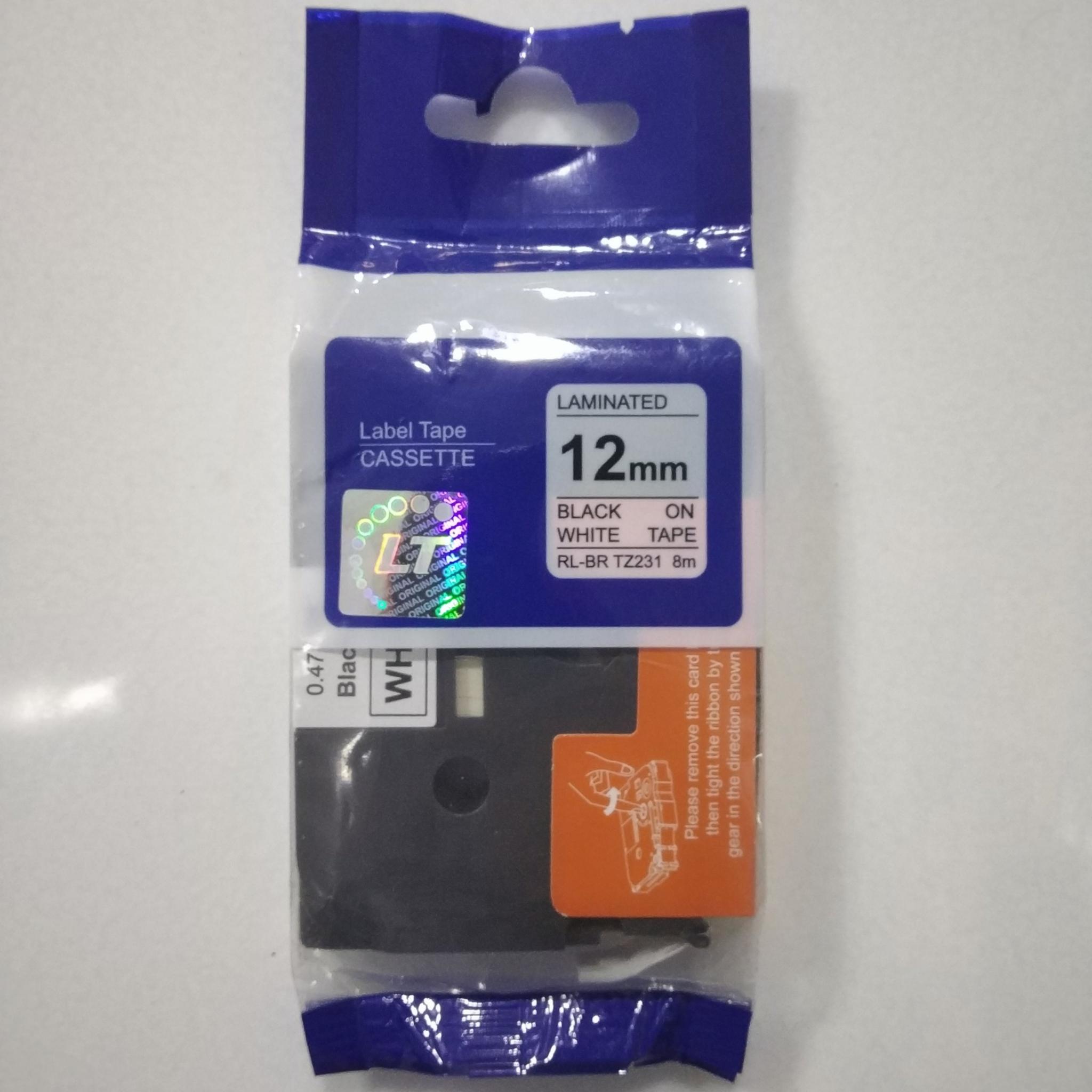 LT 231 Laminated 12mm Black on White Label Tape