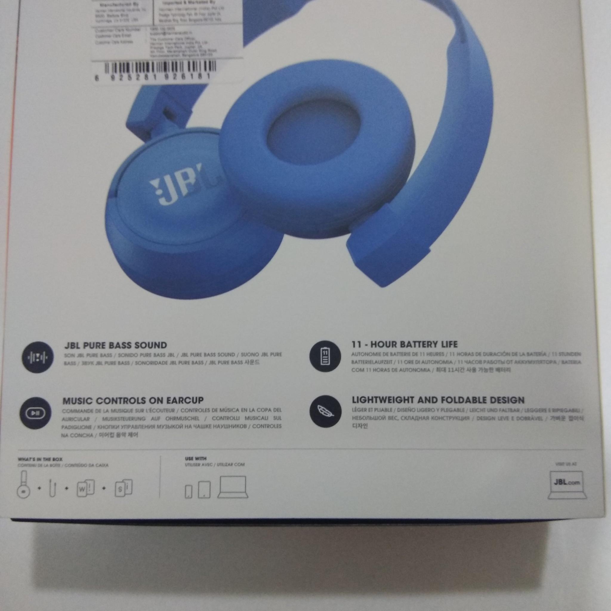 JBL T460BT Wireless Bluetooth on-ear headphones, Blue, Rs 2400