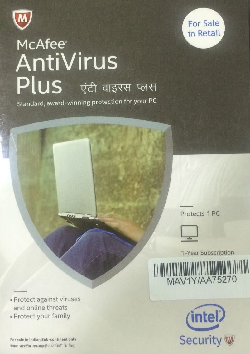 1 User, 1 Year, McAfee Antivirus Plus, 2019