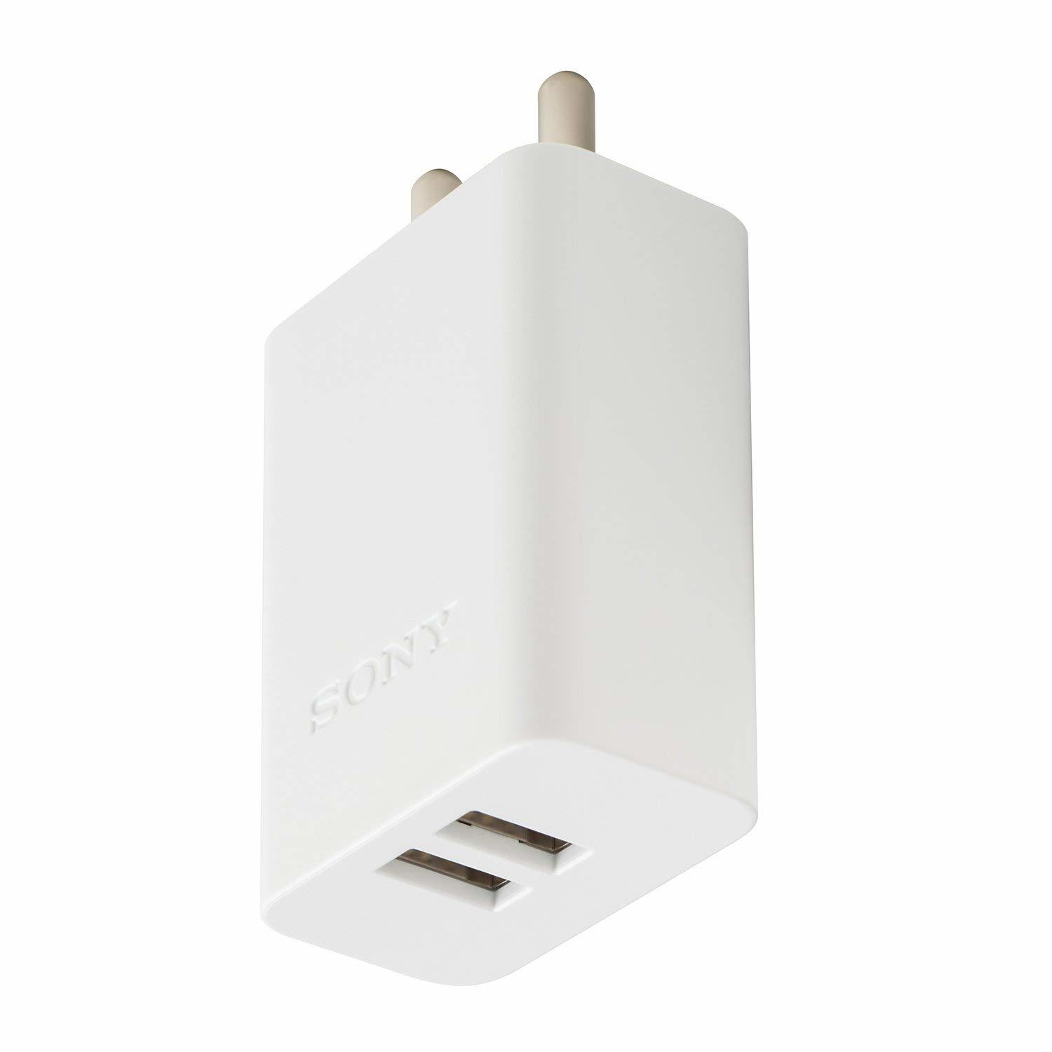 Sony Original 3.0A Fast Charging 2 Port Adapter, White