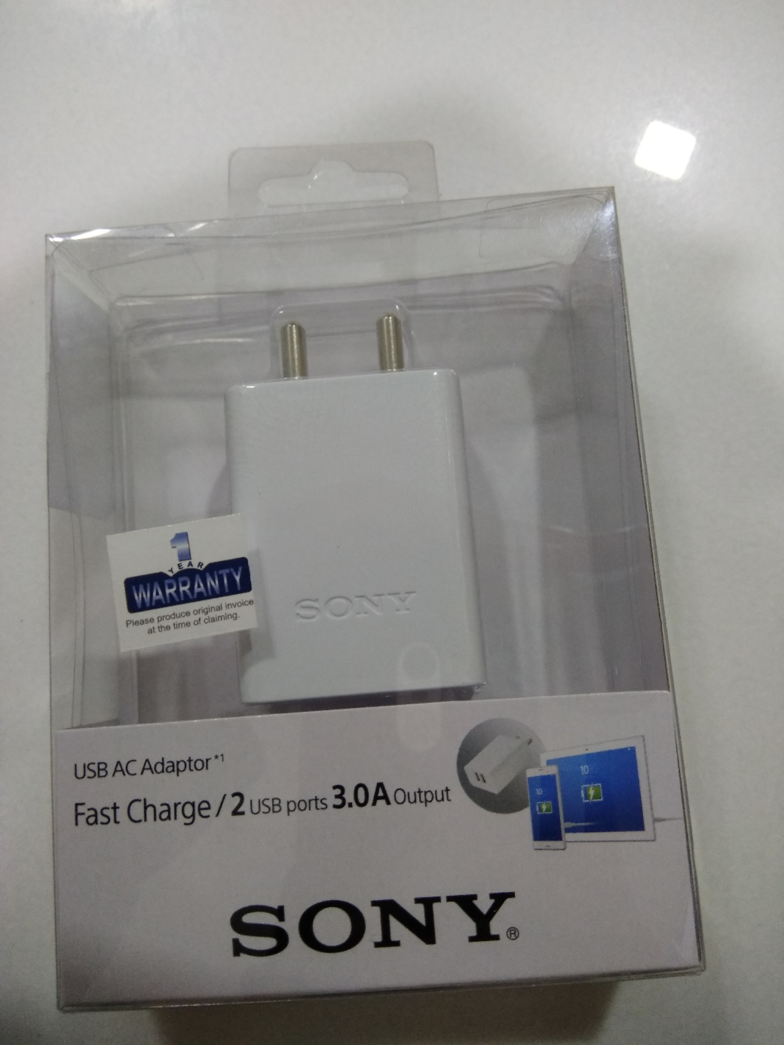 Sony Original 3.0A Fast Charging 2 Port Adapter, White CP-AD2M2 HSN:85044090