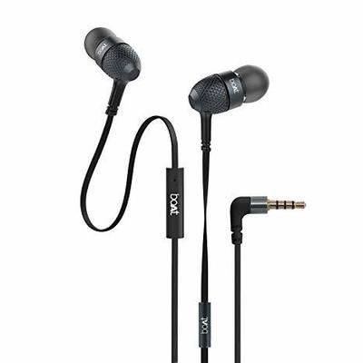 boAt BassHeads 220 Headphones with Mic, Black