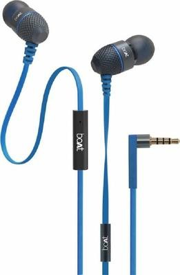 boAt BassHeads 220 Super Extra Bass In-Ear wired Headphones with Mic, Blue