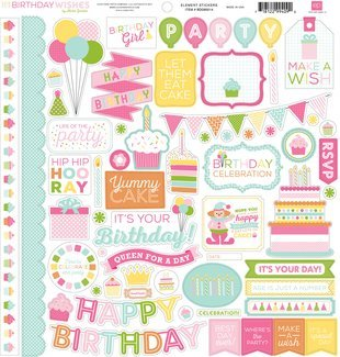 Echo Park Birthday Wishes Girl Element Sticker