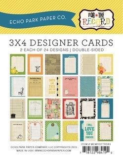 Echo Park Memos - For the Record Memo 3x4 Cards