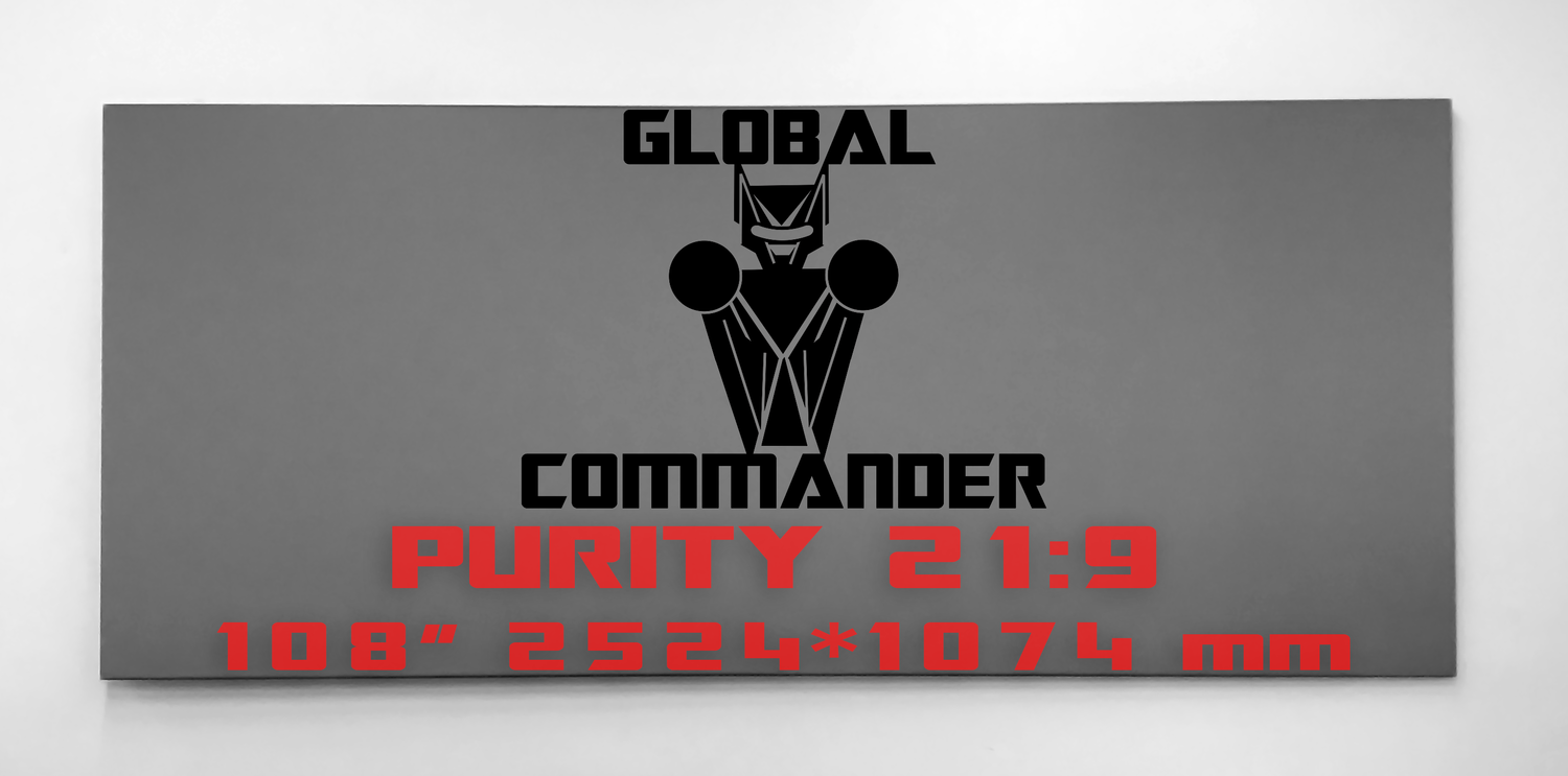"GLOBAL COMMANDER ""PURITY"" 21:9 108"" - Schermo Videoproiettore 4K / 8K"