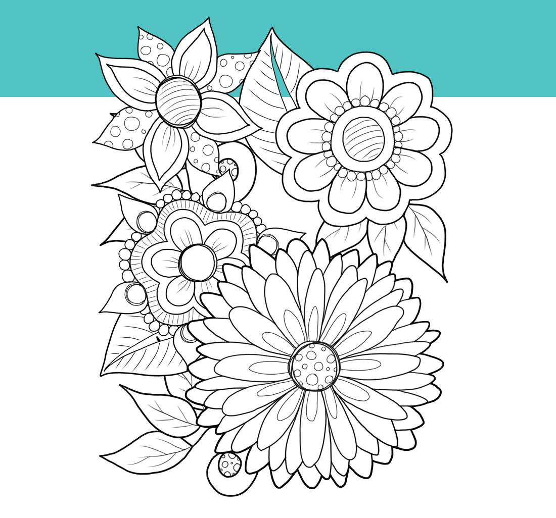 Printable Coloring Book: Garden Flowers, 15 pages