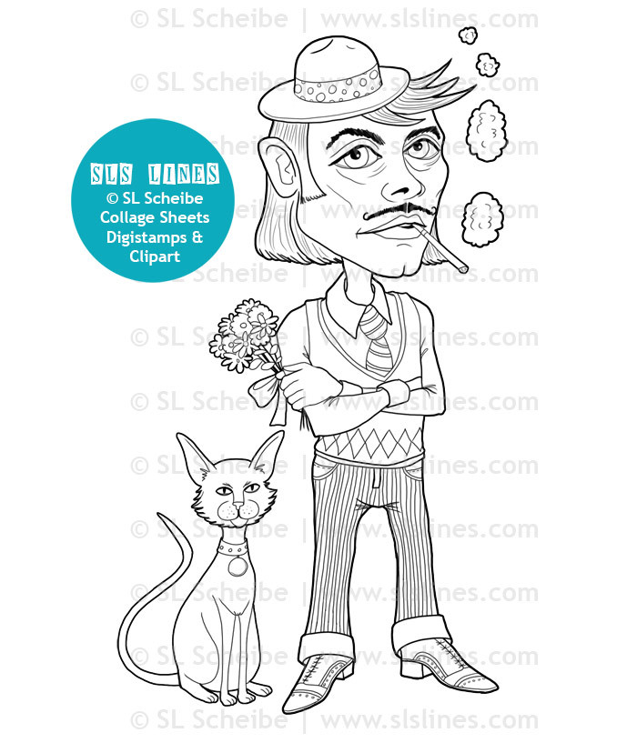 Printable Coloring Book - Mister: Funky Little Men,  14 pages
