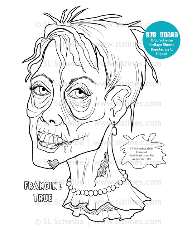 Printable Coloring Book - Zombie Heads, 12 pages
