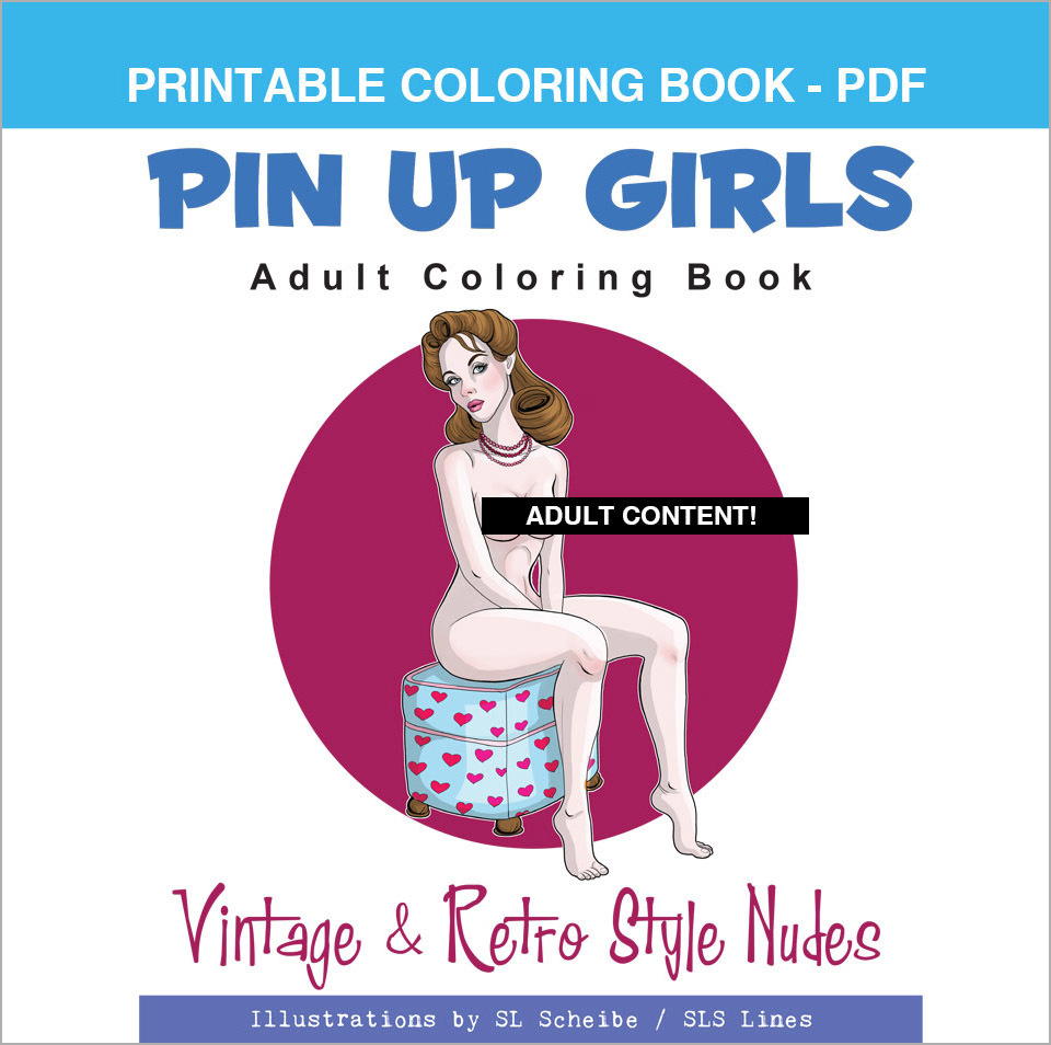 Printable Coloring Book: Nude Retro Pin-Up Girls, 24 pages 00055