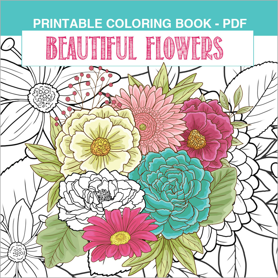 Printable Coloring Book: Garden Flowers, 15 pages 00054