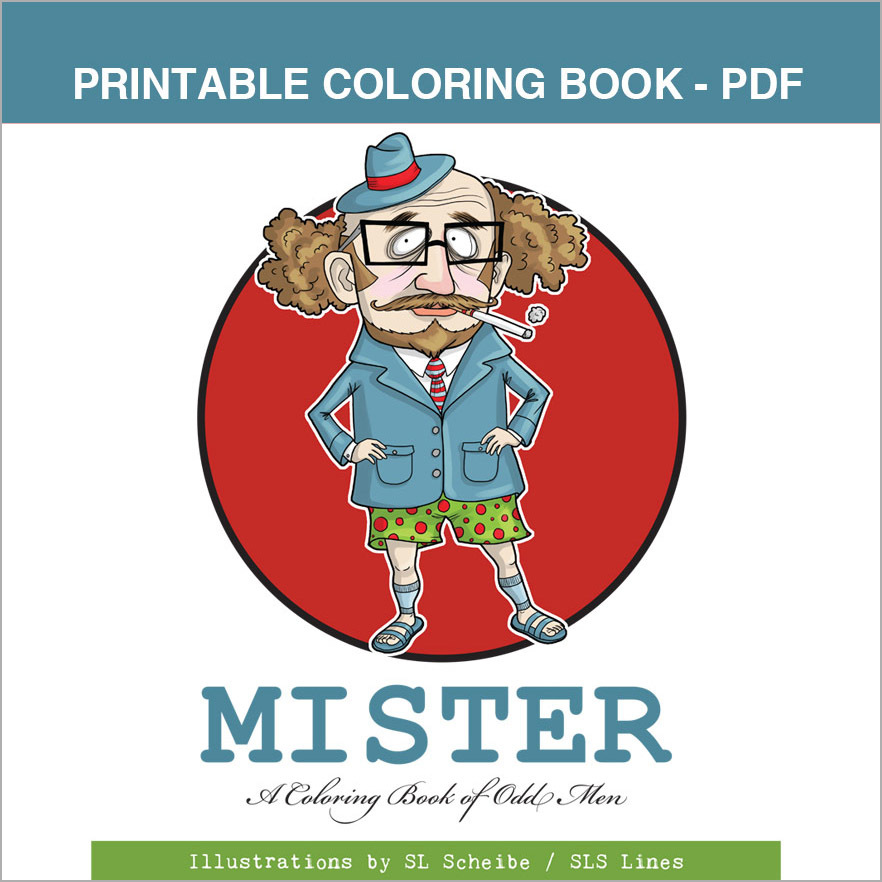Printable Coloring Book - Mister: Funky Little Men,  14 pages 00057