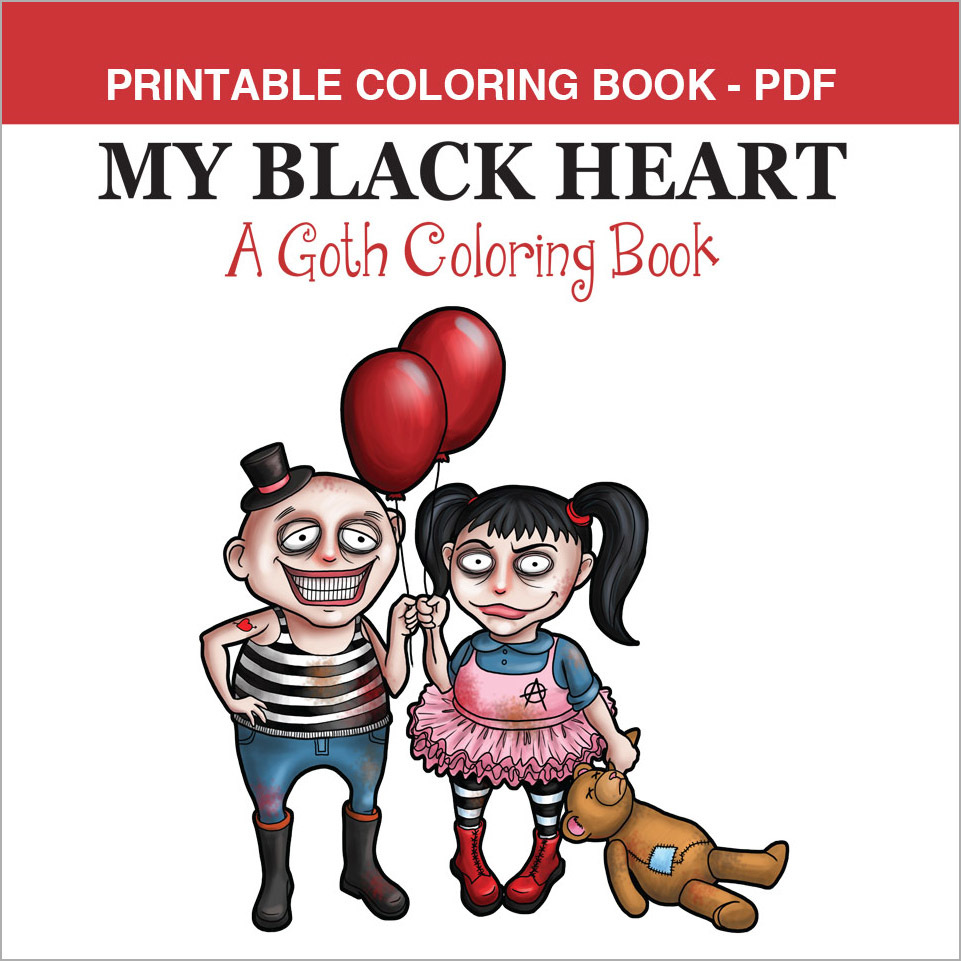 Printable Coloring Book - My Black Heart, 14 pages 00056