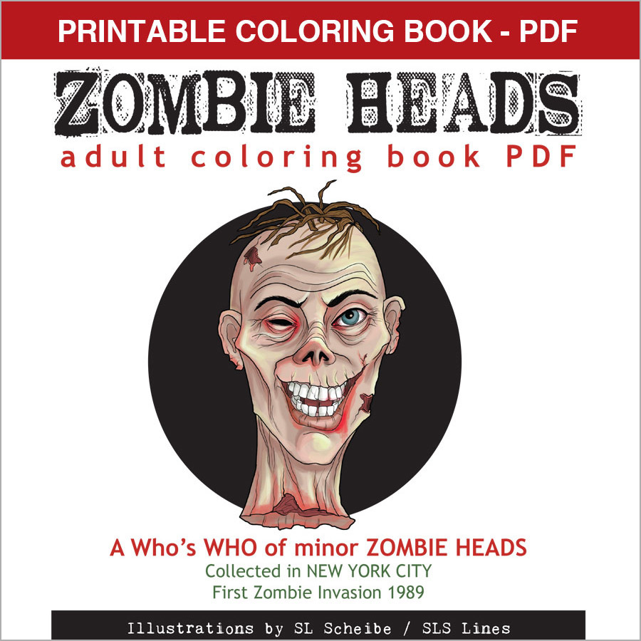 Printable Coloring Book - Zombie Heads, 12 pages 00058