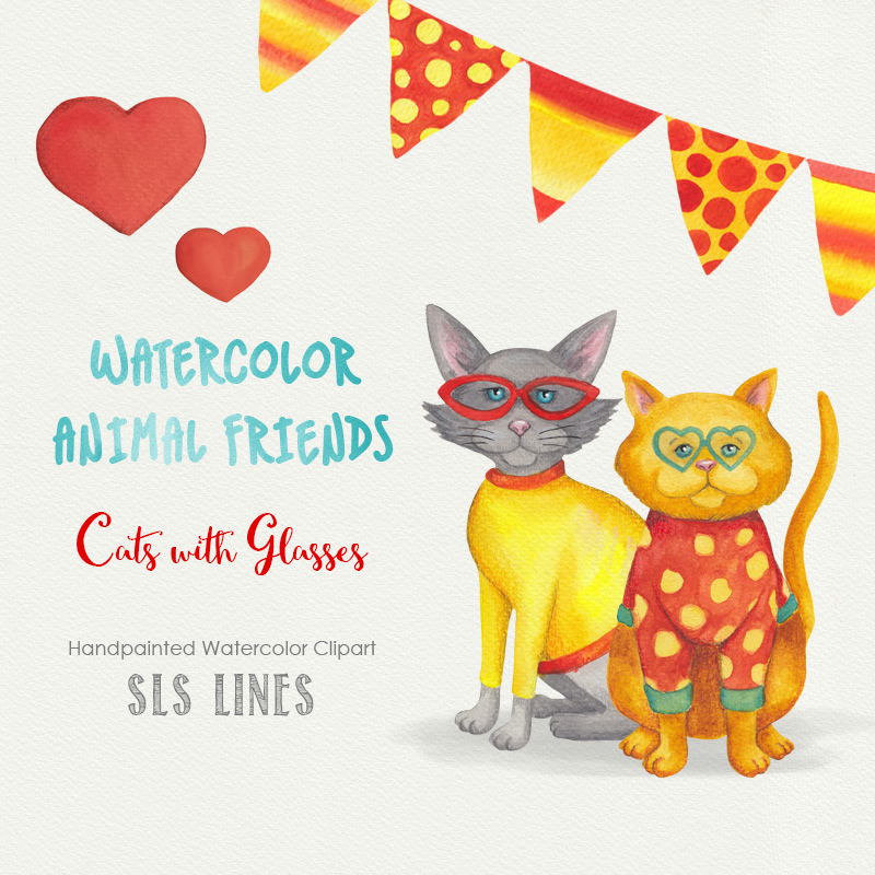 Birthday Cats Watercolor Clipart 00010
