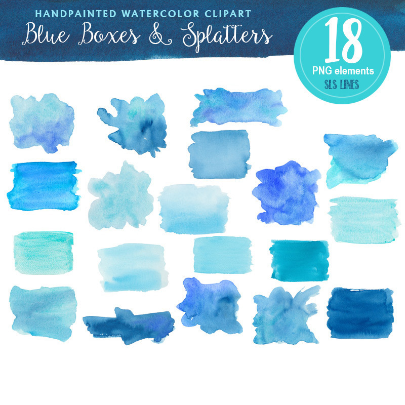 Blue Boxes & Splatters Watercolor Clipart 00046