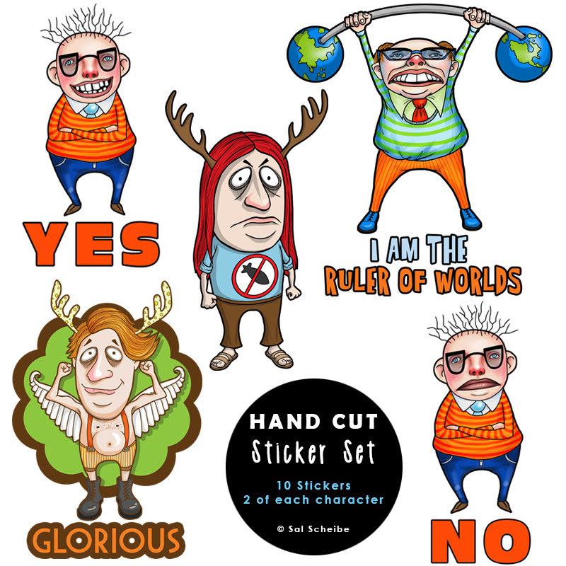 Funny Little Men Handcut Stickers 00035