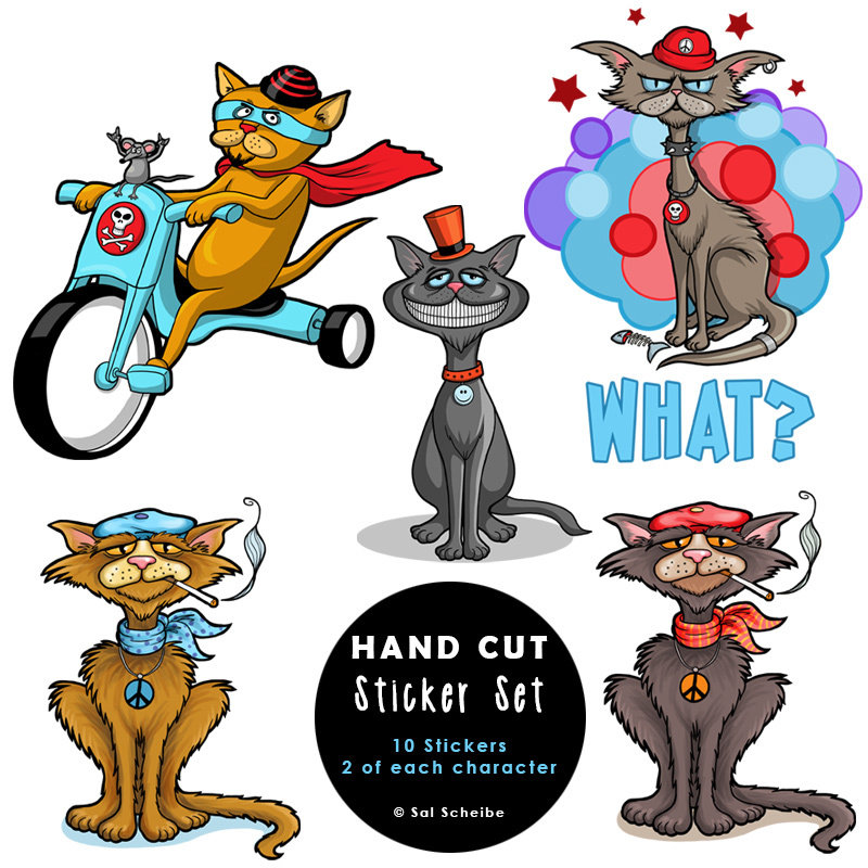 Cool Cats Handcut Stickers 00036