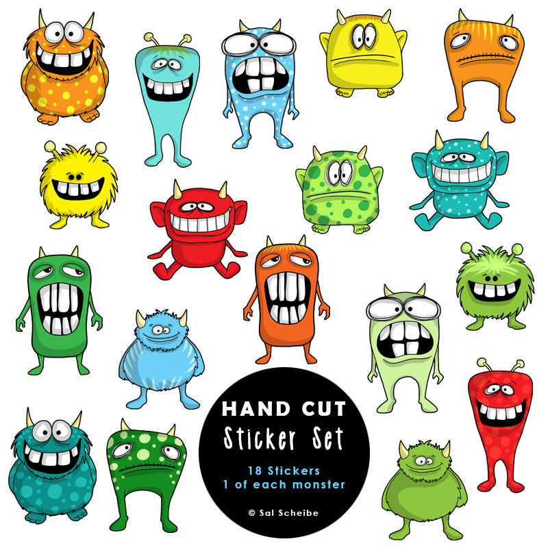 Ridiculously Cute Monsters Handcut Stickers 00038