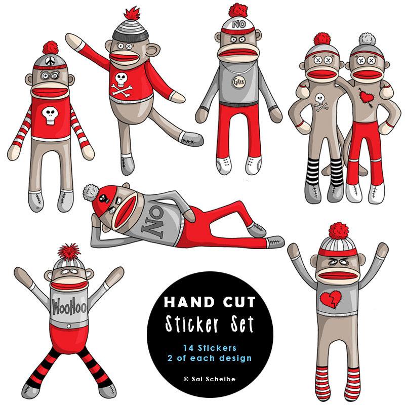 Rebel Sock Monkey Handcut Stickers 00039