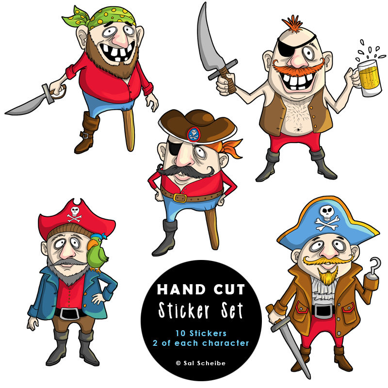 Chubby Pirates Handcut Stickers 00040