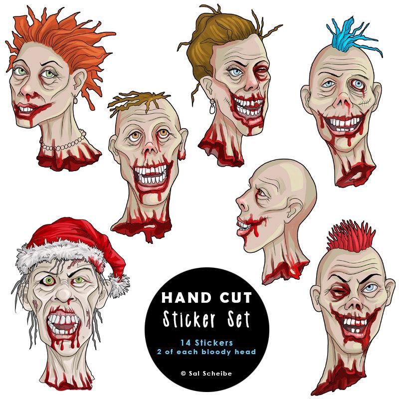 Bloody Zombie Head Handcut Stickers 00041