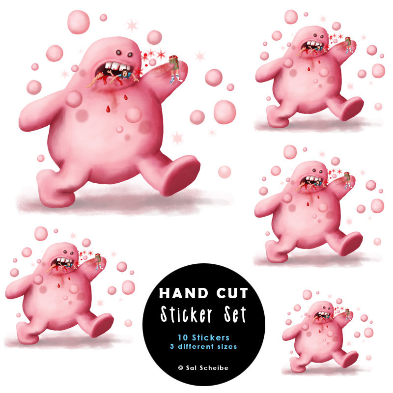 Bubble Gum Monster Handcut Stickers 00042