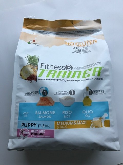TRAINER FITNESS 3 PUPPY MED MAXI SALMONE RISO OLIO 3KG
