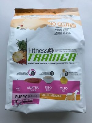 TRAINER PUPPY FITNESS 3 MED MAXI ANATRA RISO OLIO KG 3