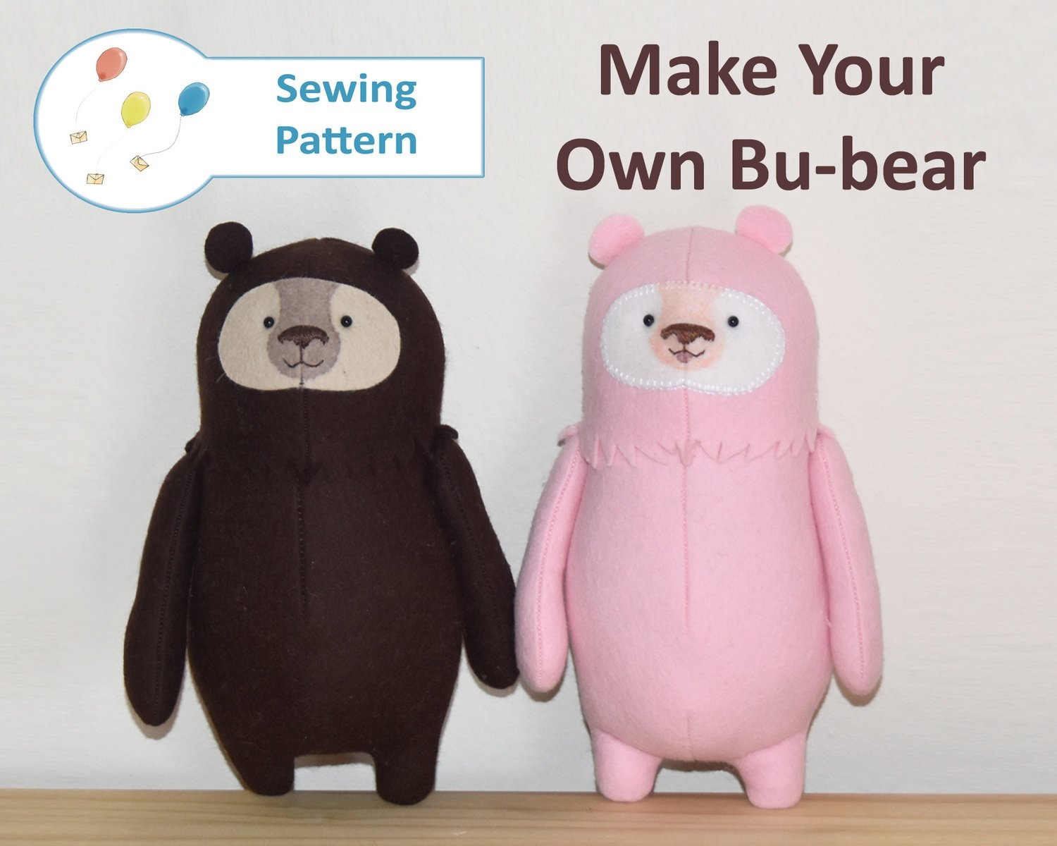 A4 SIZED Cute Bu-bear Teddy Bear Starter Sewing Pattern! Beginner Suitable,  felt plushie pincushion
