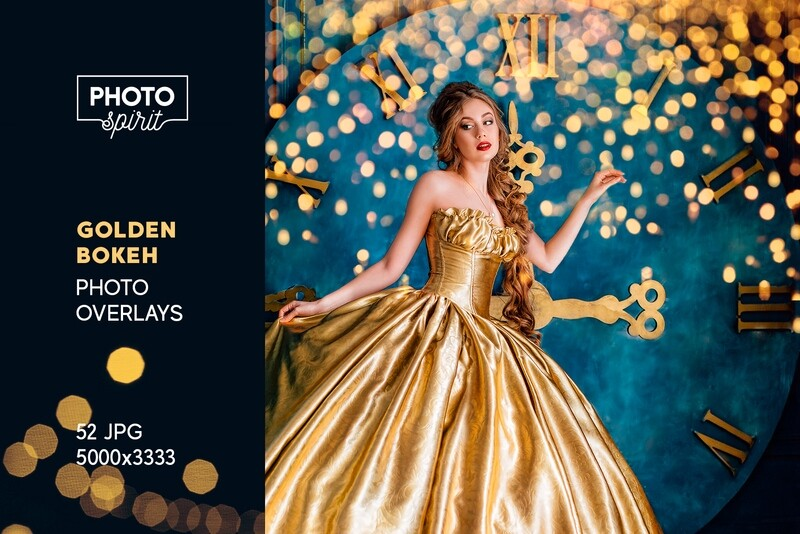 Golden Bokeh Photo Overlay Effects