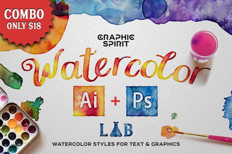 Combo: WATERCOLOR Lab Ai+Ps