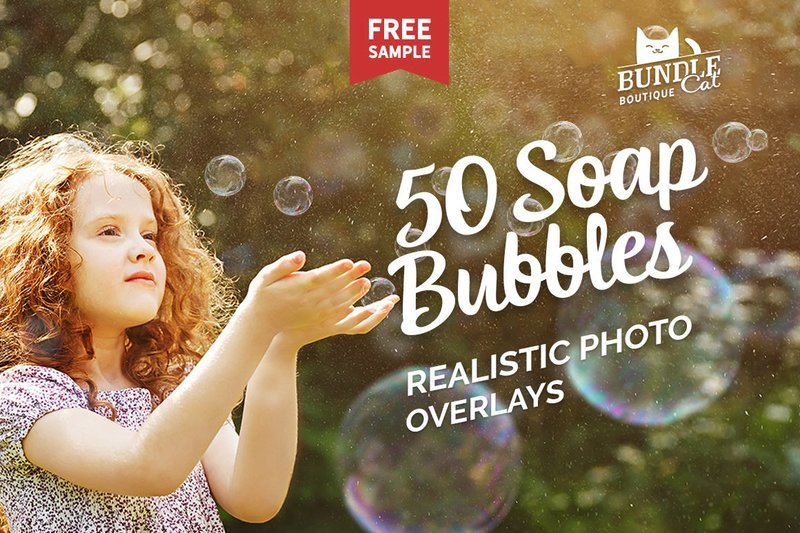 50 Soap Bubbles Photo Overlays
