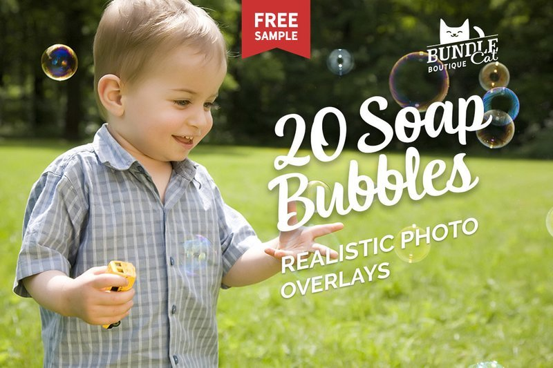20 Soap Bubbles Photo Overlays