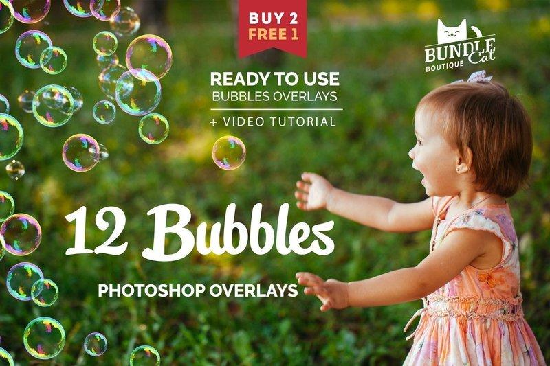 12 Soap Bubbles Photo Overlays