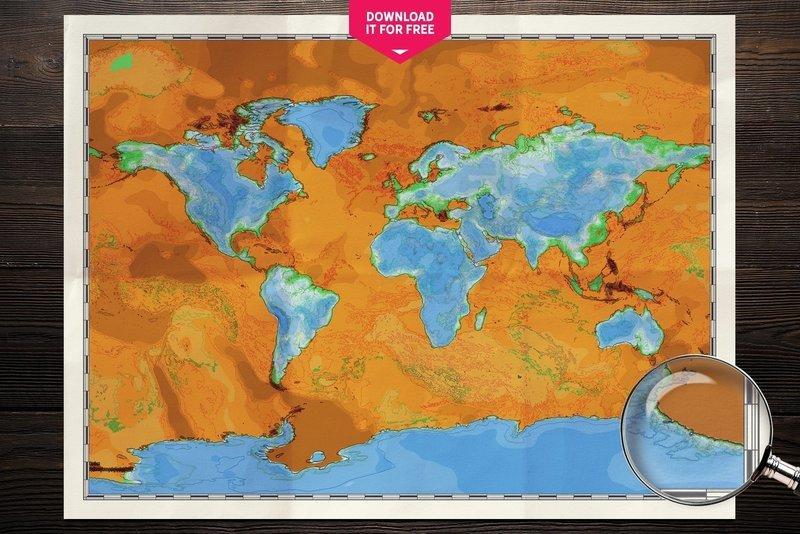 World Map Vice Versa Physical Map Wall Art Poster Free